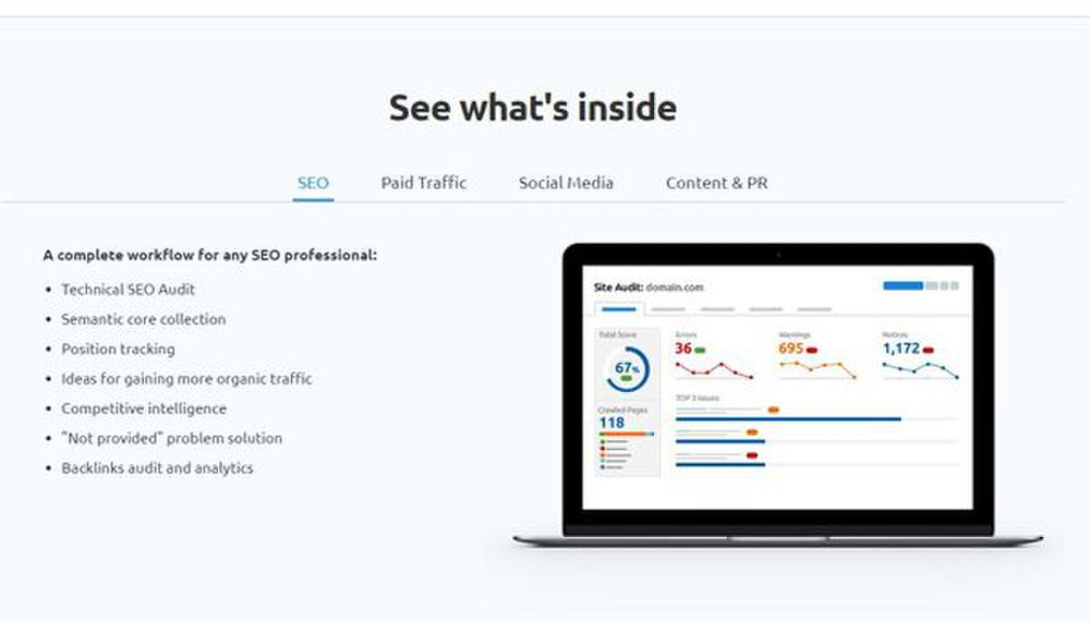 SEMrush image: This SEO software suite performs site audits, researches data on competitors, analyzes backlinks and more.