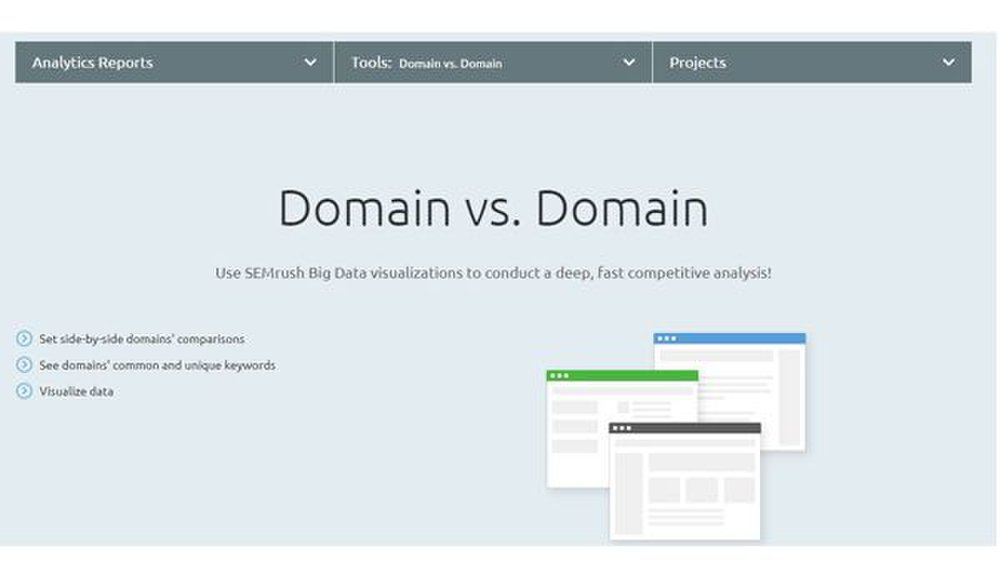 SEMrush image: This software is known for its competitive analysis features; it presents domain information side by side so it's easy to see how you stack up against your competition.