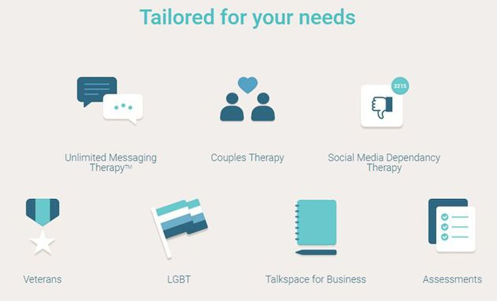 Talkspace image: The platform can match patients according to specialized needs, including LGBT, veterans or couples counseling.