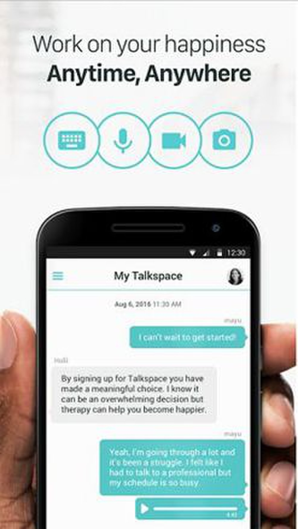 Talkspace image: The app allows for a variety of ways to communicate, including text, video chat or audio messages.