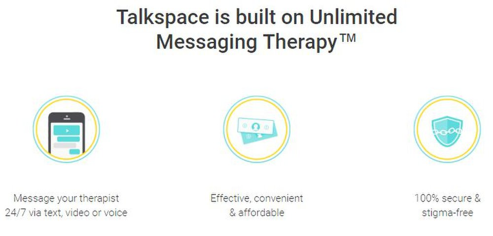 Talkspace image: Talkspace allows members to instant message their thoughts and questions to their therapist 24/7, while the therapist can respond at their next convenience.