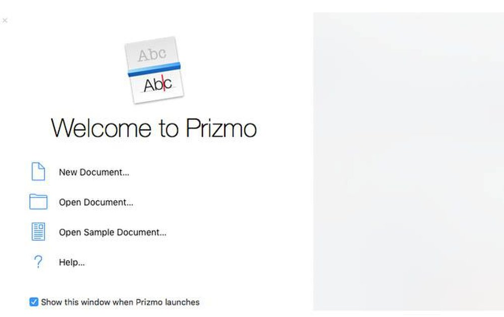 Prizmo image: This software provides immediate access to its help menu.