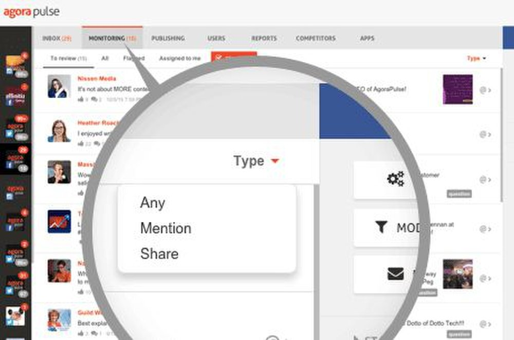AgoraPulse image: You can track your mentions and shares on Facebook.