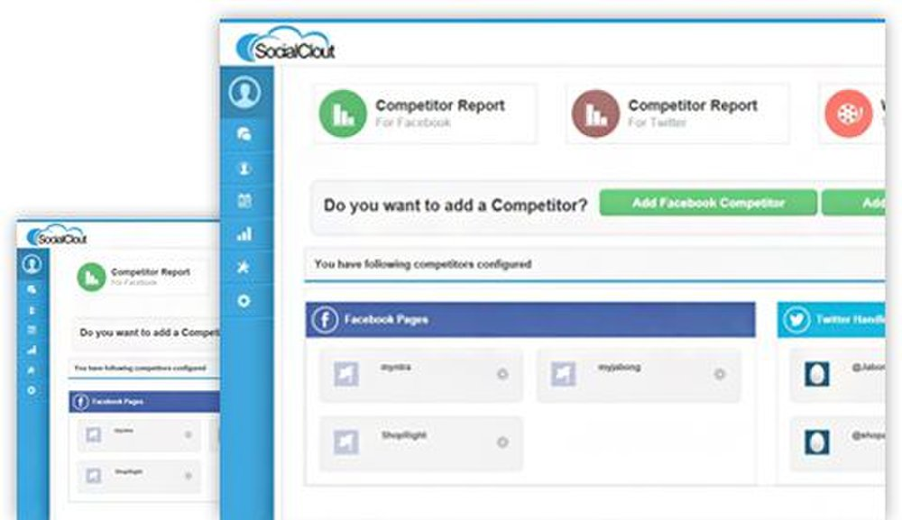 SocialClout image: You can add competitor names to see how you stack up and identify potential influencers and customers.