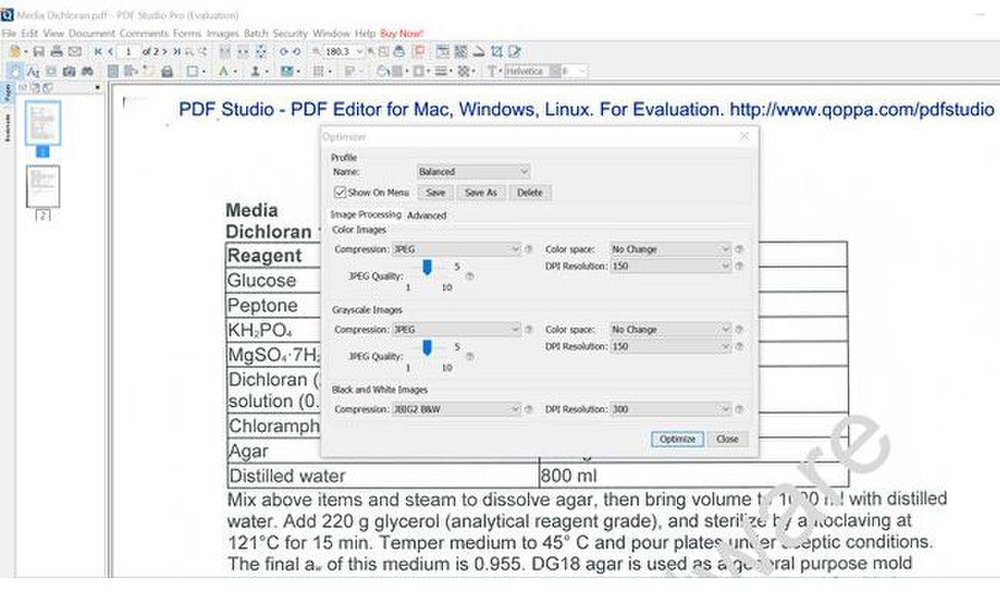 Qoppa PDF Studio Pro image: You can customize how you optimize a PDF to make it work for websites and mobile devices.