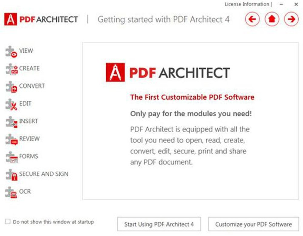 PDF Architect image: This program walks you through how to use the program immediately after startup.
