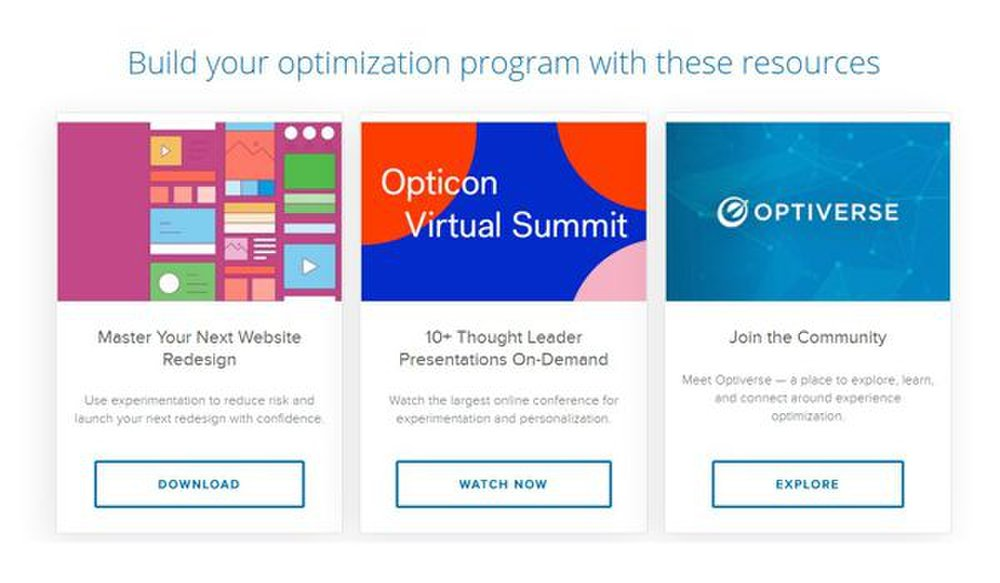 Optimizely image: The Optimizely website offers resources like presentations and an online community to help you understand the world of website optimization.