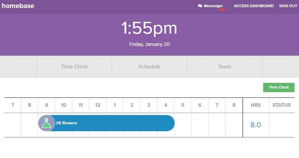 Homebase image: A time clock is available to let your employees clock in and out within the program.