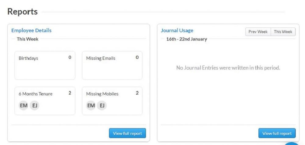 Deputy image: The reporting function helps you keep track of employee information as well as make notes about behavior or special circumstances.