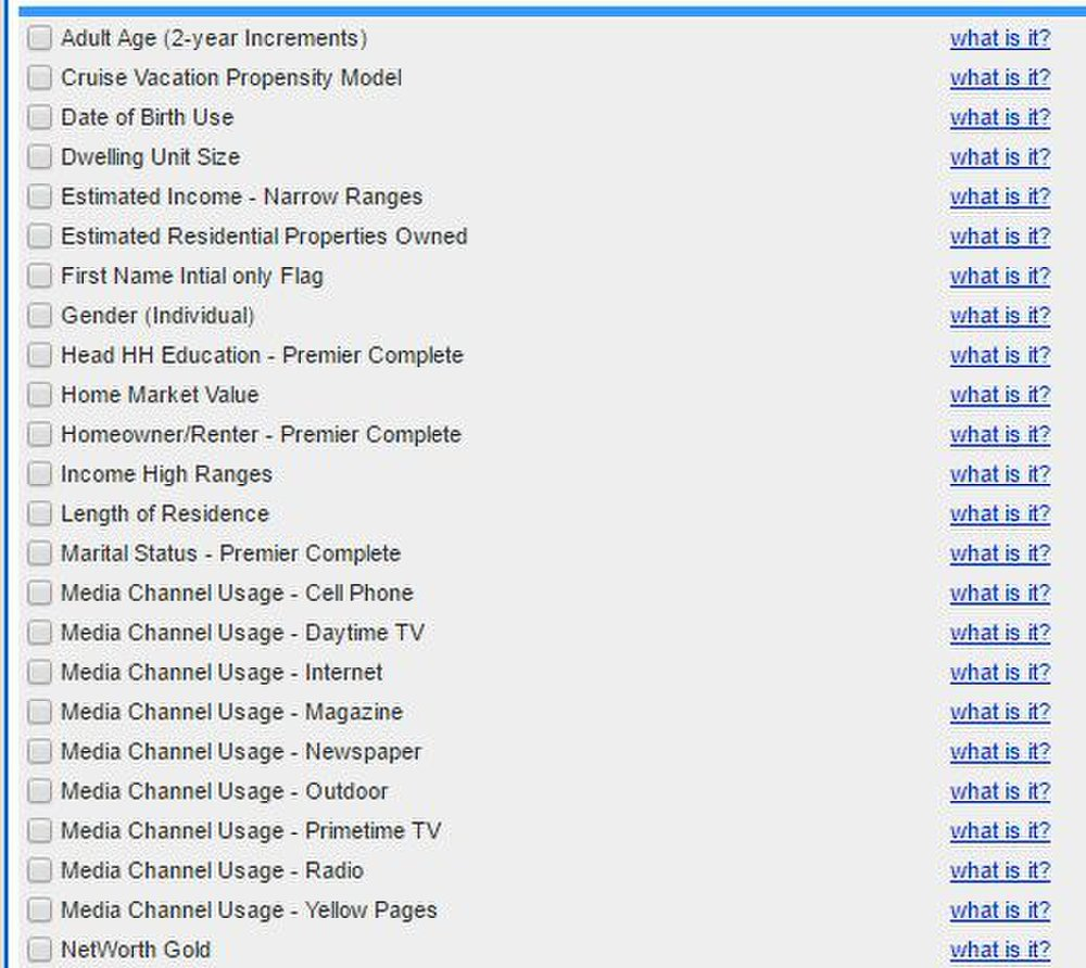 Mailing Lists Direct image: You can select from a long list of search criteria, including demographics and buying habits.