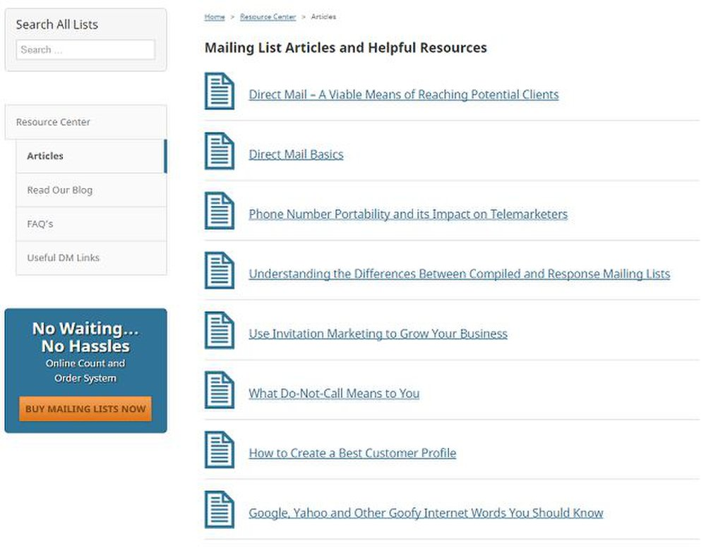 Mailing Lists Direct image: A direct marketing resource page has tips and guides to make your campaign more successful.