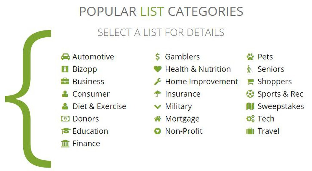 List Giant image: You can select from dozens of list categories for both business and consumer lists.