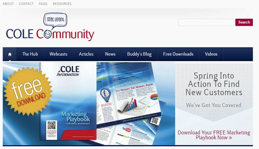 Cole Lists image: There is a community page full of free material, guides and articles on direct marketing.