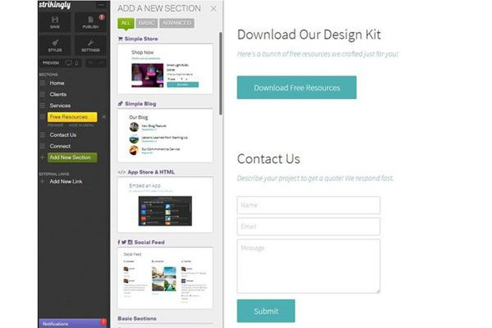 Using Strikingly, you can drag and drop new sections to your website and rearrange the design elements.