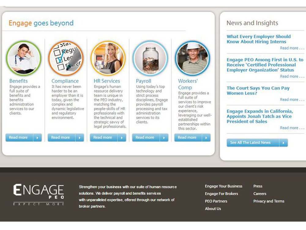 Engage PEO helps with benefits, payroll, workers' comp, compliance and other HR services.