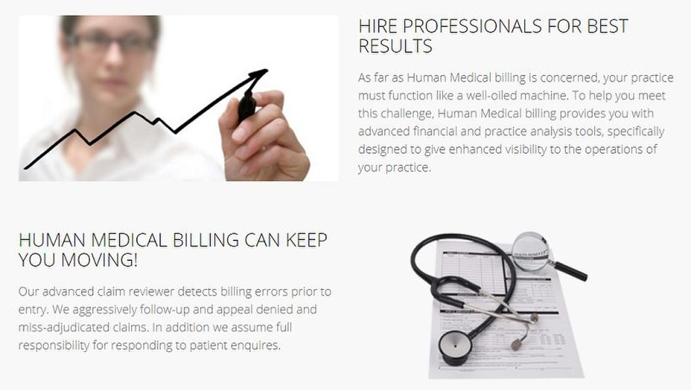 Human Medical Billing extensively reviews claims with its billing experts and claim-scrubbing software, then follows up with insurance companies for you.