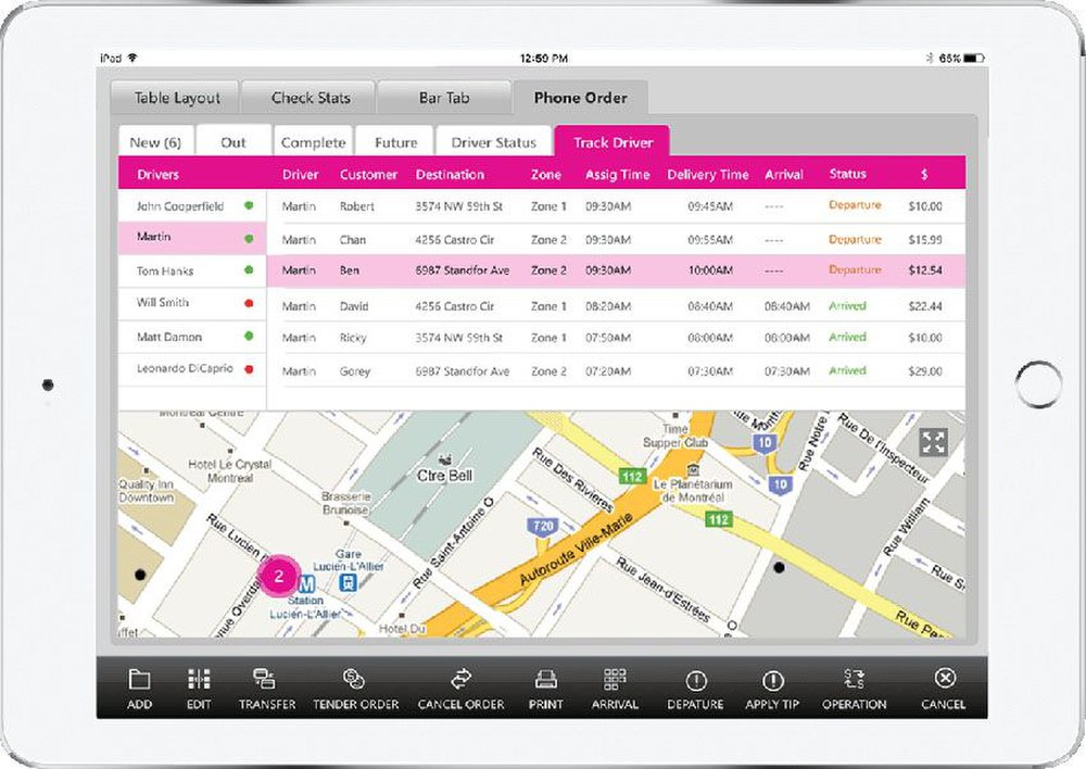 Using the delivery management tools, you can track your drivers and estimate delivery times.