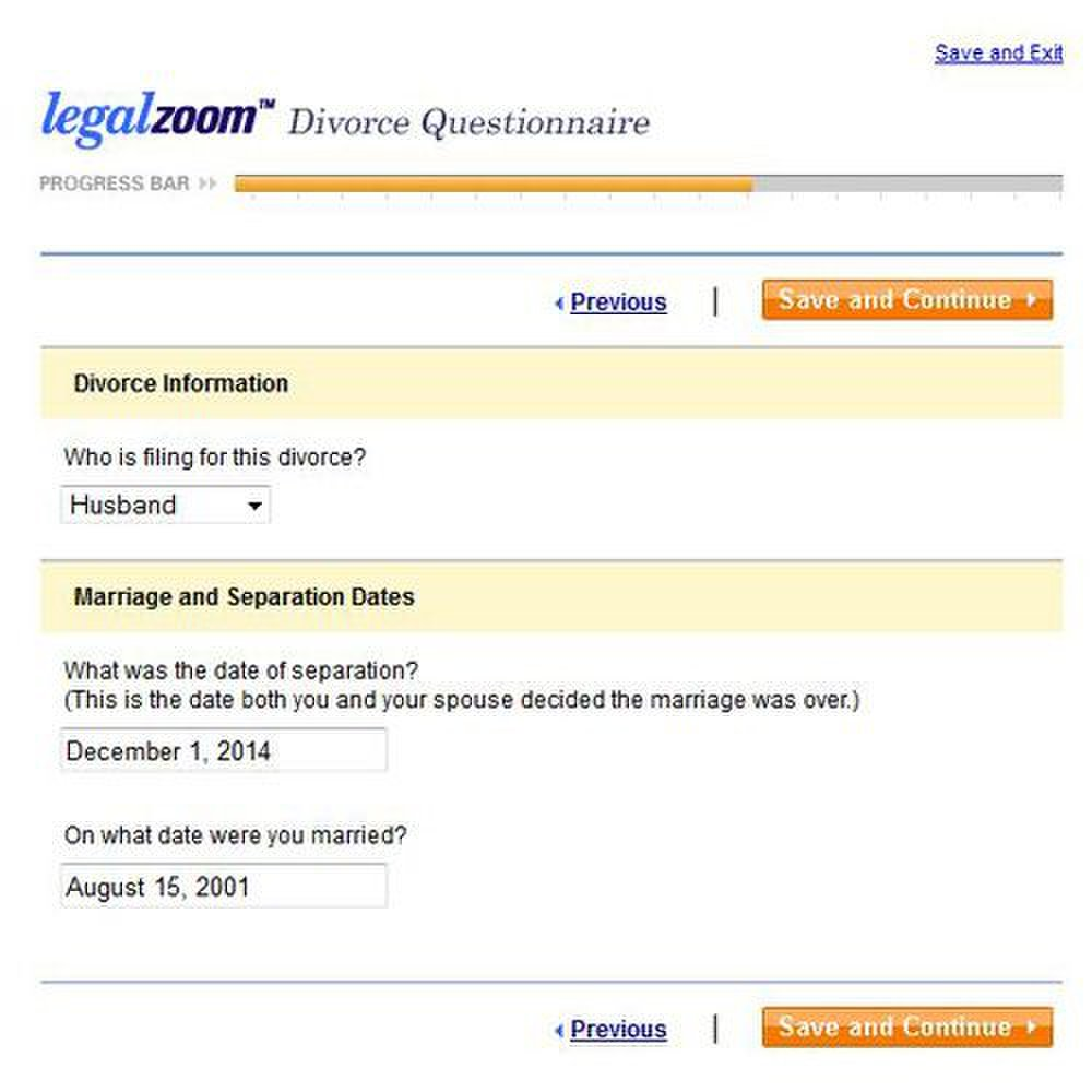 LegalZoom image: This service has divorce forms for uncontested divorces.
