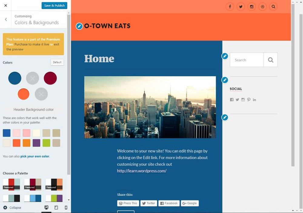 WordPress image: The platform helps you make your blog aesthetically pleasing by suggesting color pallets.