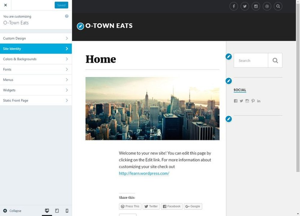 WordPress image: The customization screen allows you to change several aspects of your blog, including background colors and font.