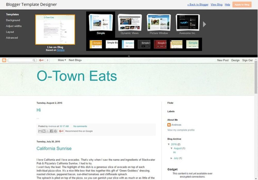 Blogger image: The customizer lets you change your blog's template. You can pick a layout and then a visual style.