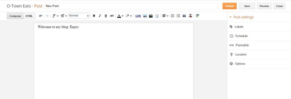 Blogger image: The post editor allows you to add images and lets you customize posts however you like.