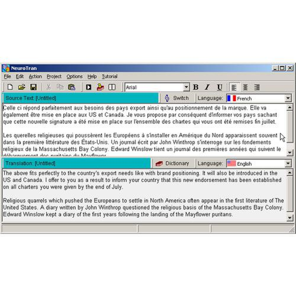 NeuroTran PRO image: A dictionary for each language allows you to look up a word and choose a substitute.