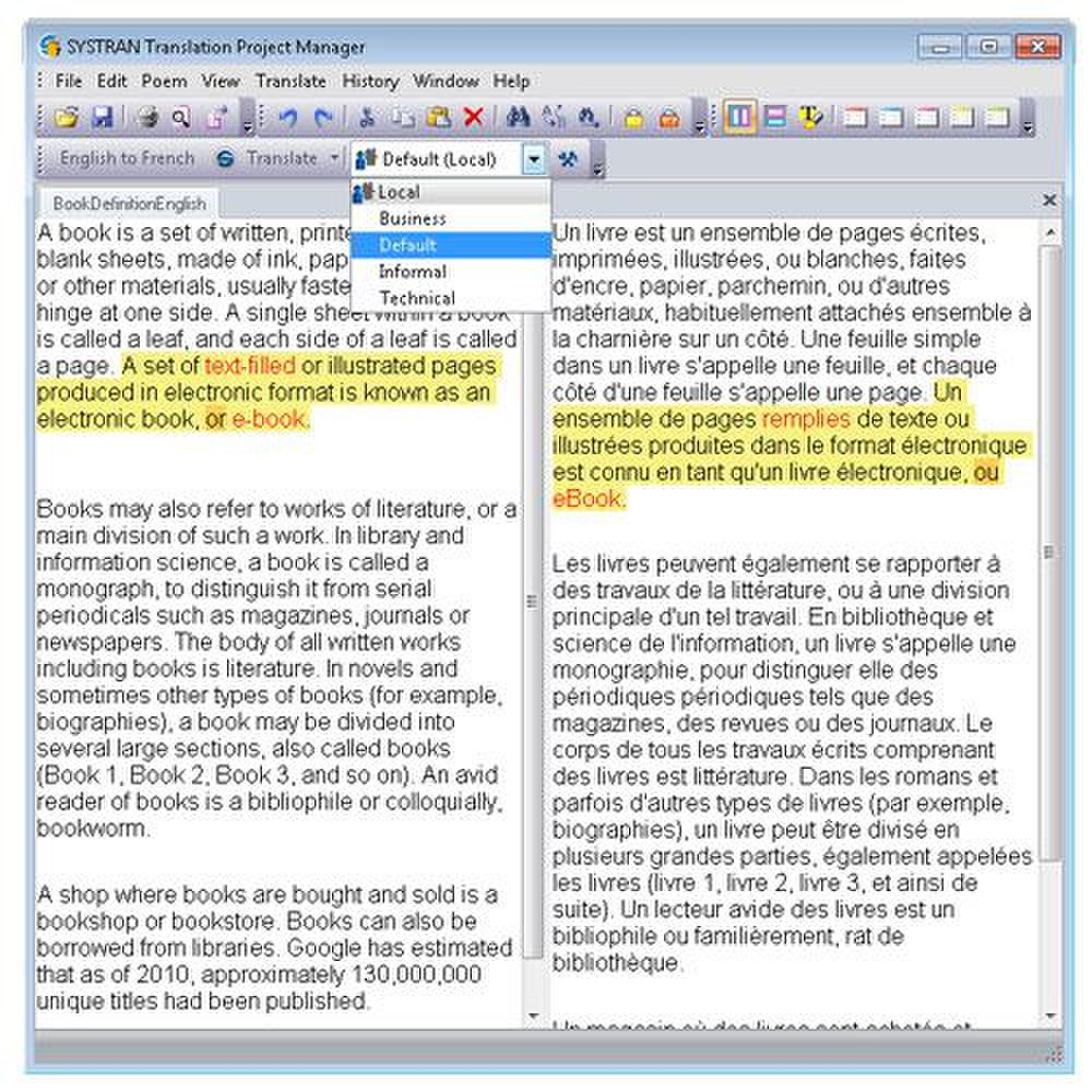 Systran Business Translator image: You can use built-in dictionaries to choose a business, informal or technical voice for your document.