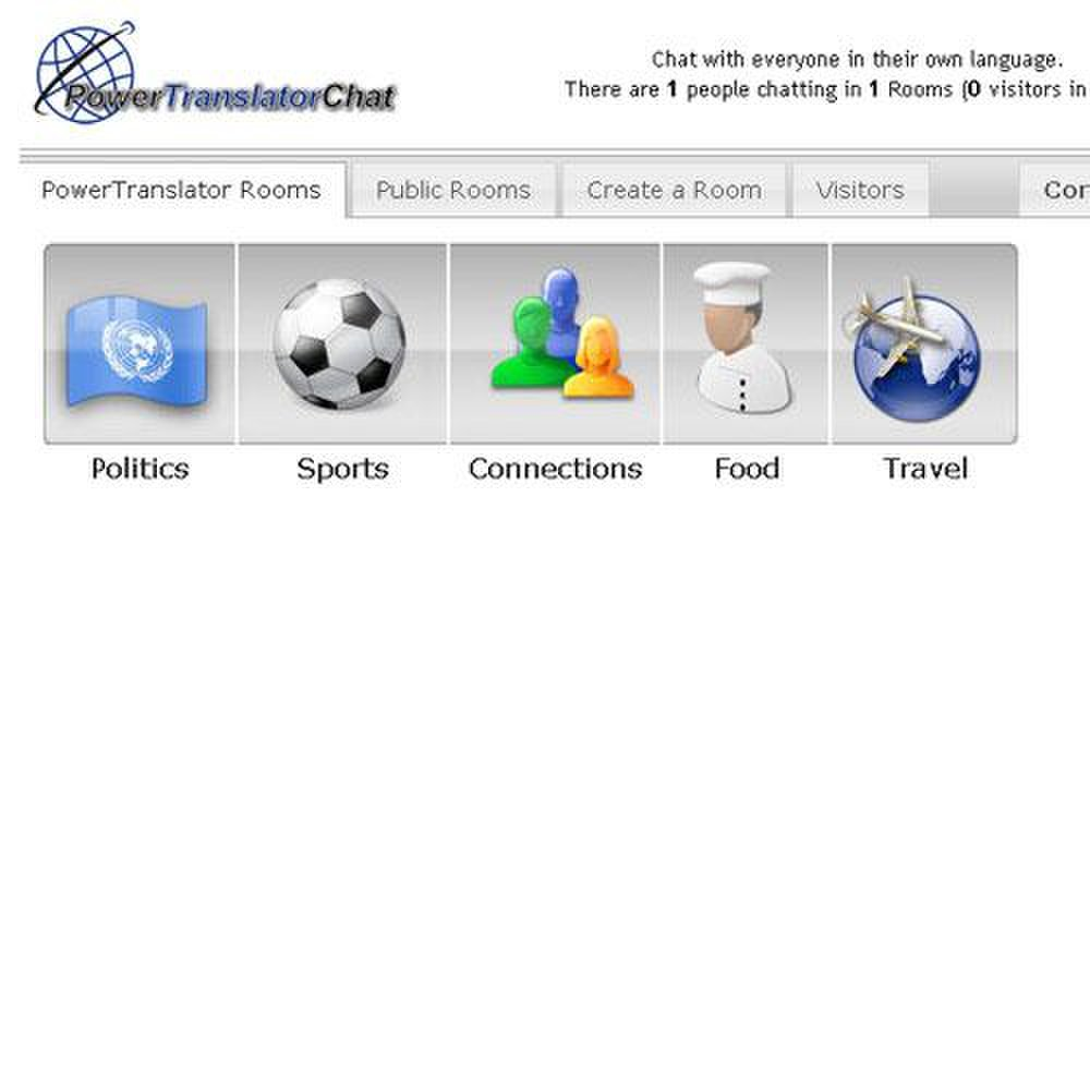 Power Translator image: Chat rooms with automatic language translation allow you to talk to other users with no language barriers.