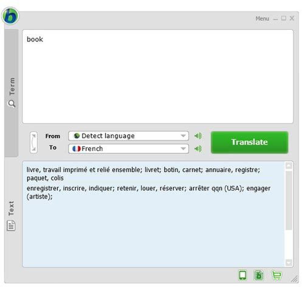 Babylon image: Single search terms return several choices in the language you request.