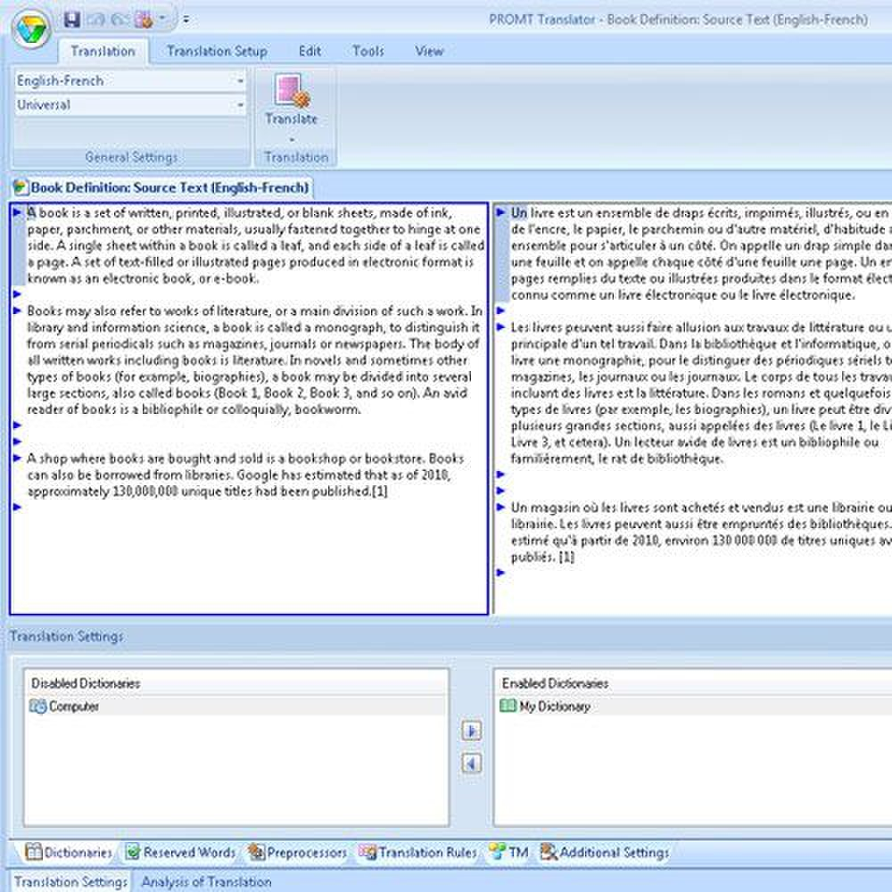 Promt Professional 10 image: You can easily import a document in English and translate it to French by clicking the Translate button.