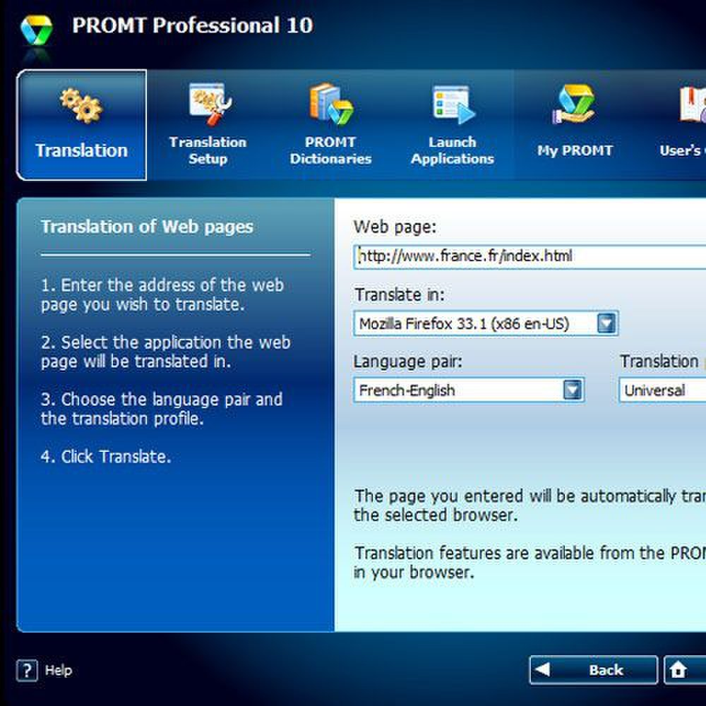 Promt Professional 10 image: You can open a webpage and designate the language you would like the page to appear in.