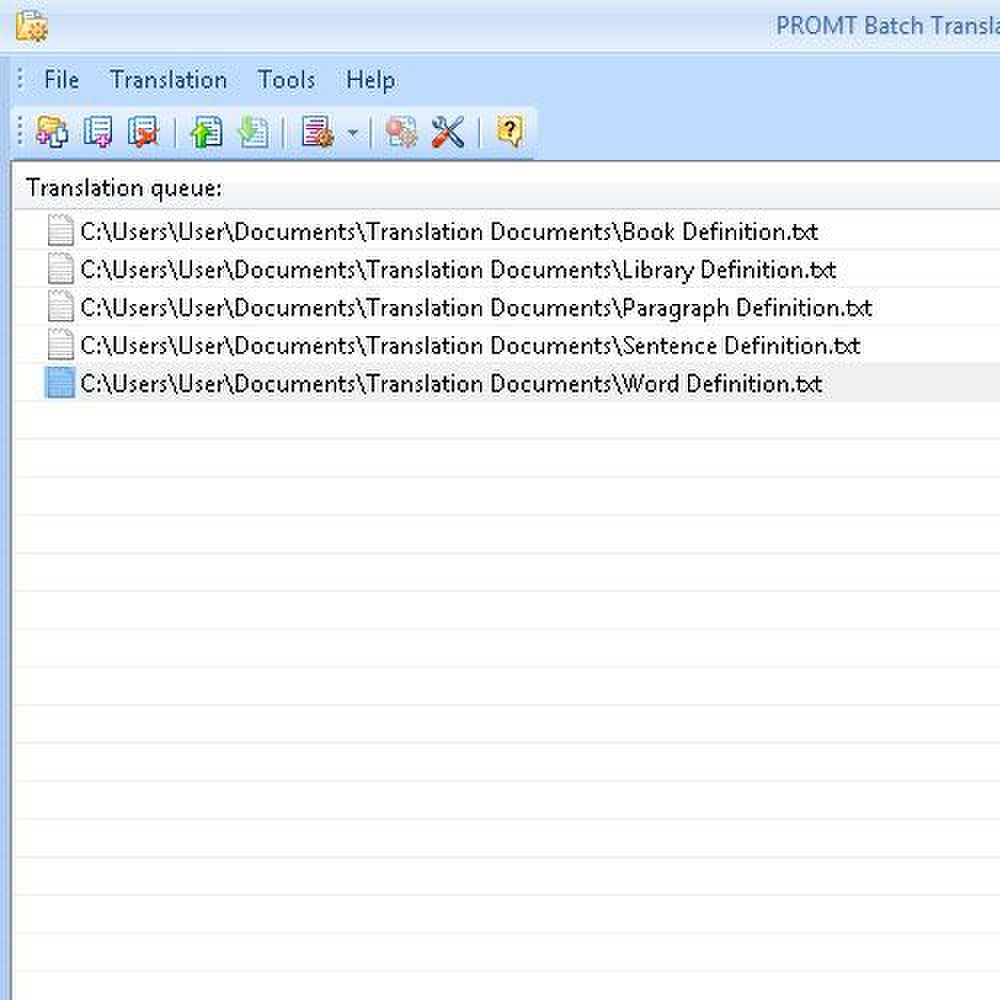 Promt Professional 10 image: As batch files are translated, they are shown in the Batch Translator window.