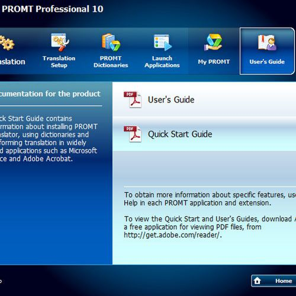Promt Professional 10 image: A User's and Quick Start Guide are built into the application and can be accessed at any time.