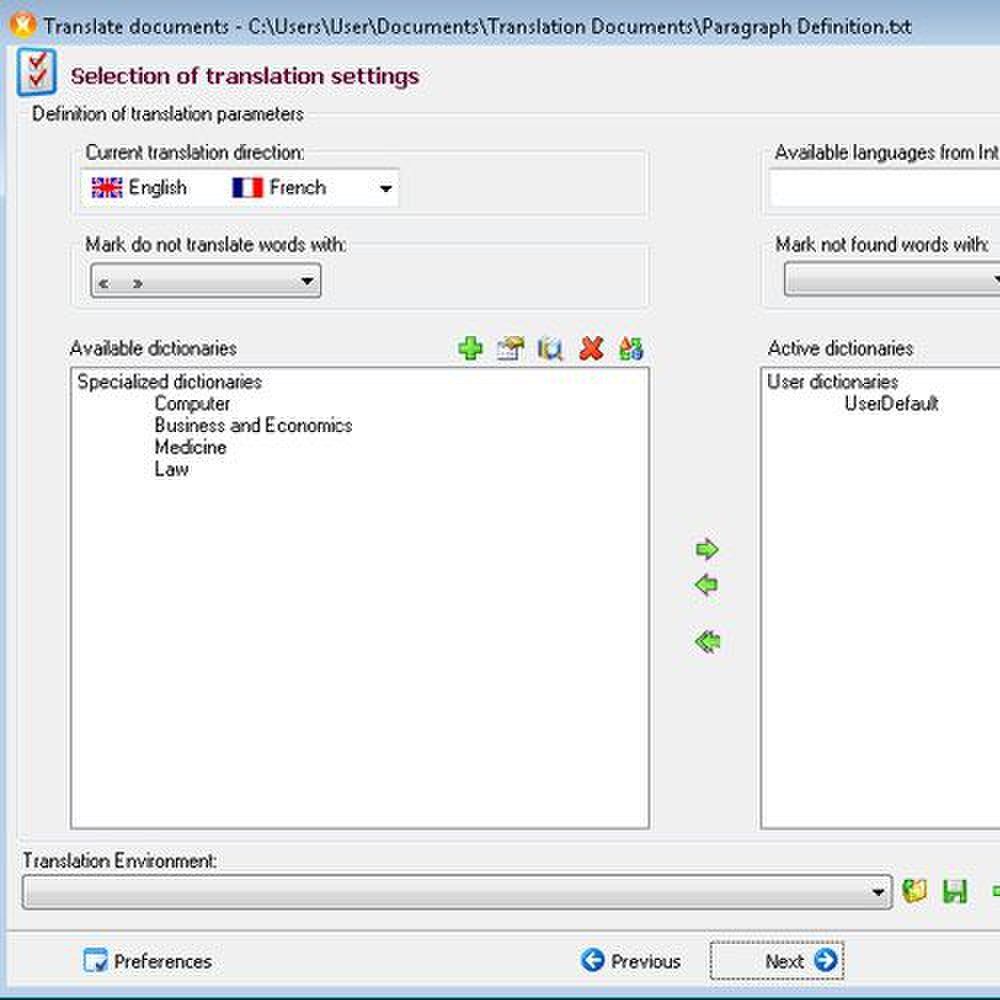 IdiomaX image: When you select a specific topic dictionary, translations are more accurate.