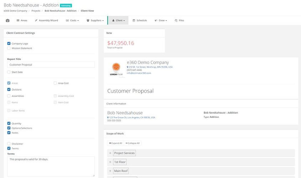 Estimator360 image: You can draft a bid proposal to digitally send to your clients for them to sign electronically.