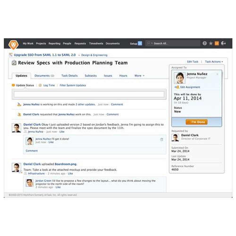 Workfront image: Team members can easily keep discussions tied to related tasks, documents and projects.