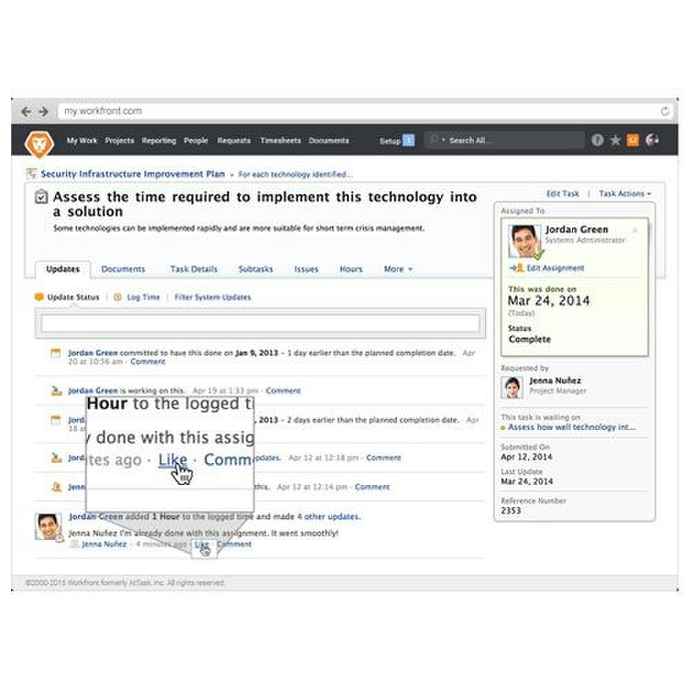 "Workfront image: Similar to popular social media sites, team members can leave comments or ""like"" discussion topics."