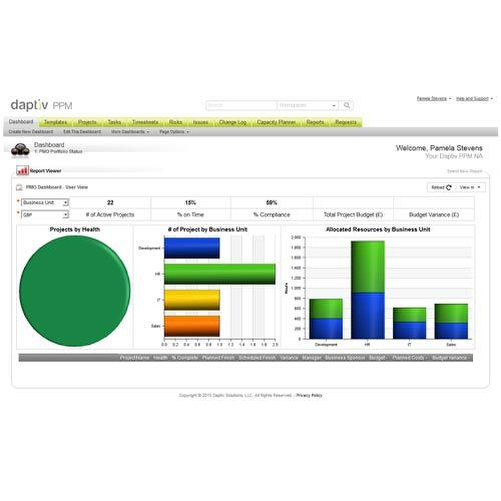 Daptiv PPM image: Daptiv creates attractive chart reports and provides numerous chart-type options.
