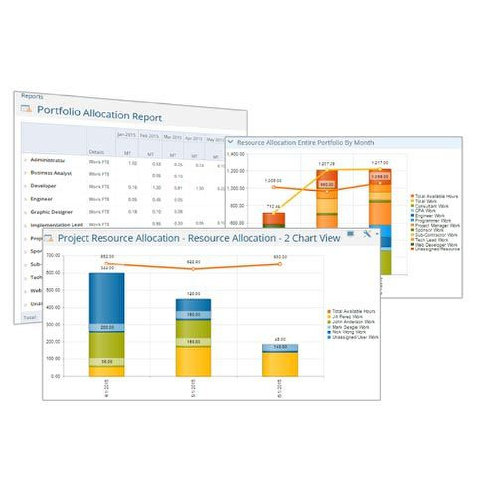 Project Insight image: Project Insight provides unlimited reporting options and supports numerous chart types.