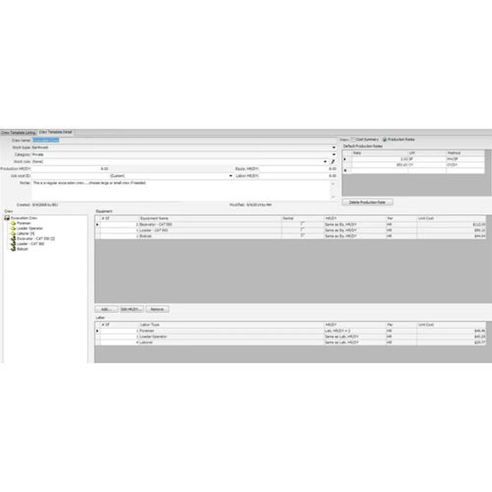 B2W Estimate image: You can designate cost databases for crews and material.
