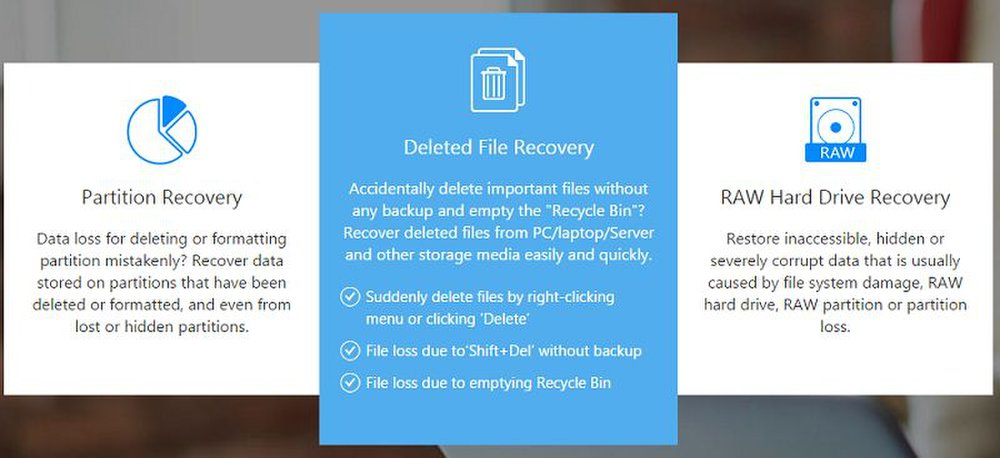 EaseUS Data Recovery's startup screen is simple, but the Scan function covers multiple types of data loss.