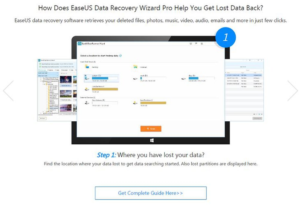 EaseUS has an online guide that walks users through each step of using its data recovery software.