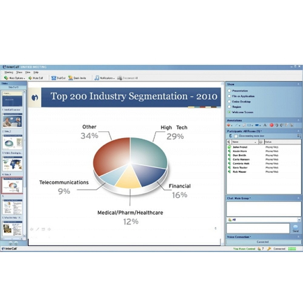 InterCall image: This screenshot shows an example of the slideshow using the Unified Meeting 5 platform.