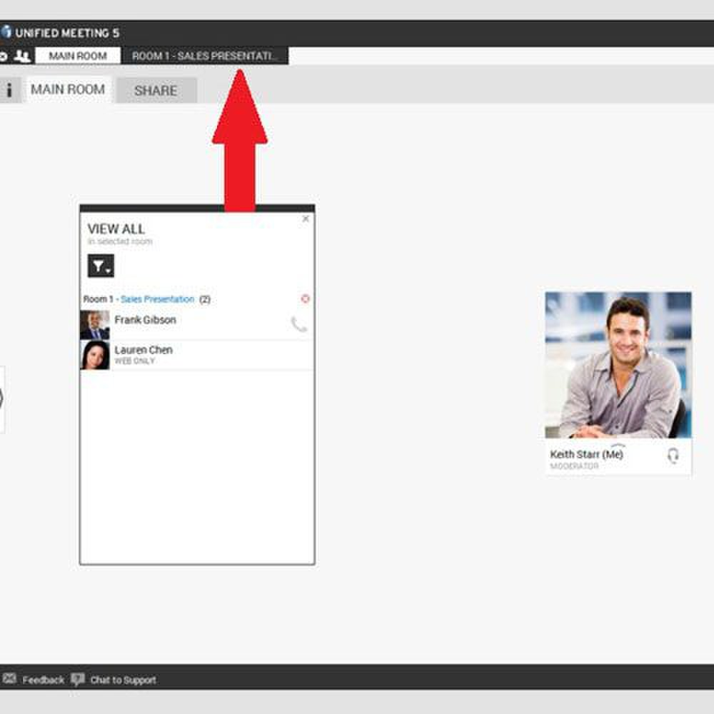 InterCall image: You can create breakout rooms for meetings-within-meetings or small group collaborations on specific parts of a project. (Unified Meeting 5 platform shown.)