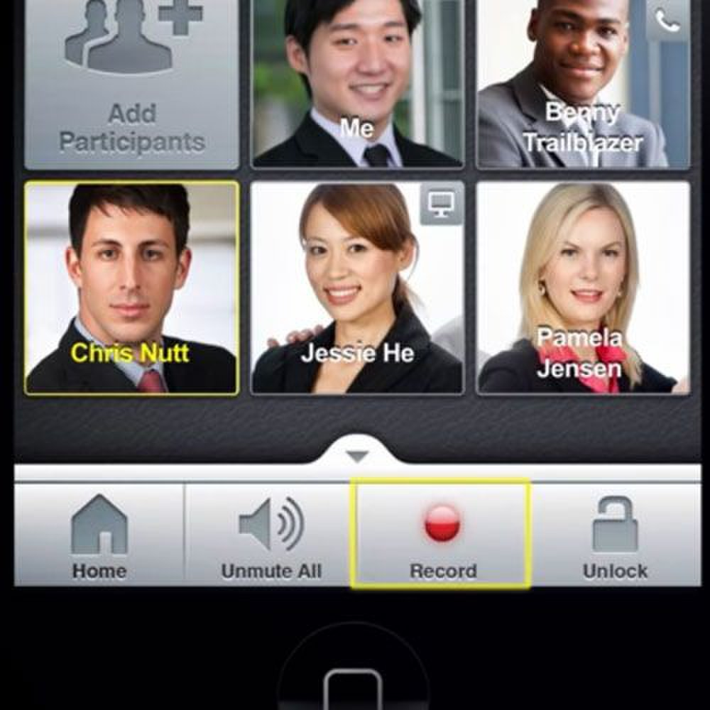 InterCall image: You can see who is speaking or presenting, mute people, and record meetings.