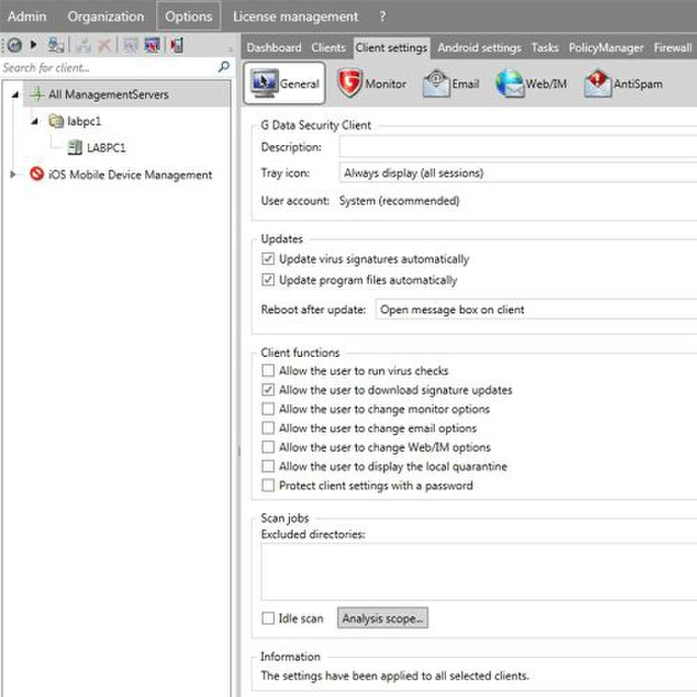G Data Endpoint Protection Business image: By using the various tabs in the dashboard, you can set security policies.