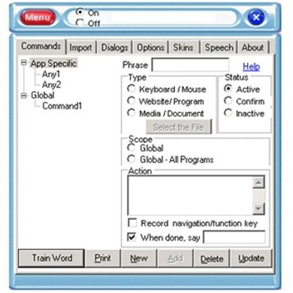e-Speaking image: You can program the software to go to specific websites when you give the command.