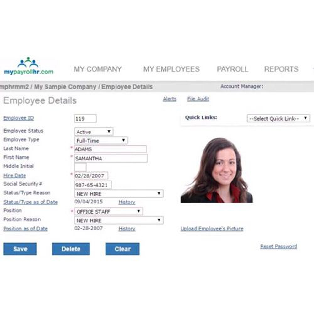 Aside from the required personal information, you can upload additional details to employee profiles, like photos and job titles.