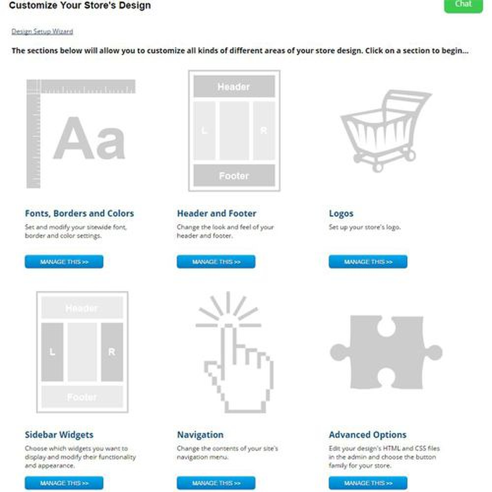CoreCommerce image: You can easily customize your store's design with fonts, headers and footers, logos, widgets, and many other options.